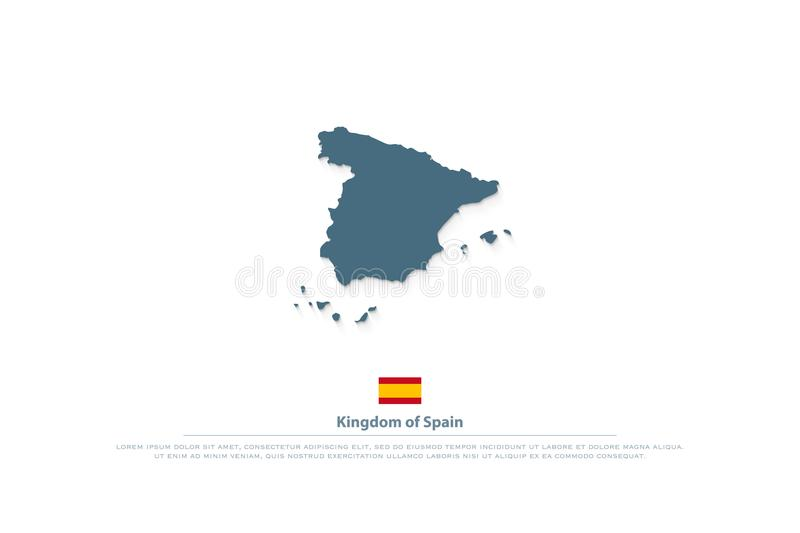 Kingdom of Spain isolated map and official flag icon. vector Spanish territory logo vector illustration