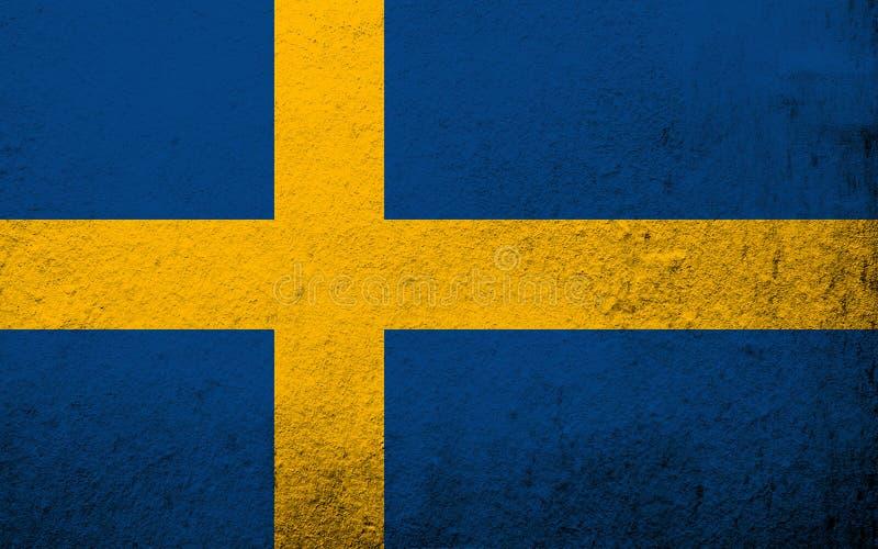 The Kingdom of Sweden national flag. Grunge background stock photo