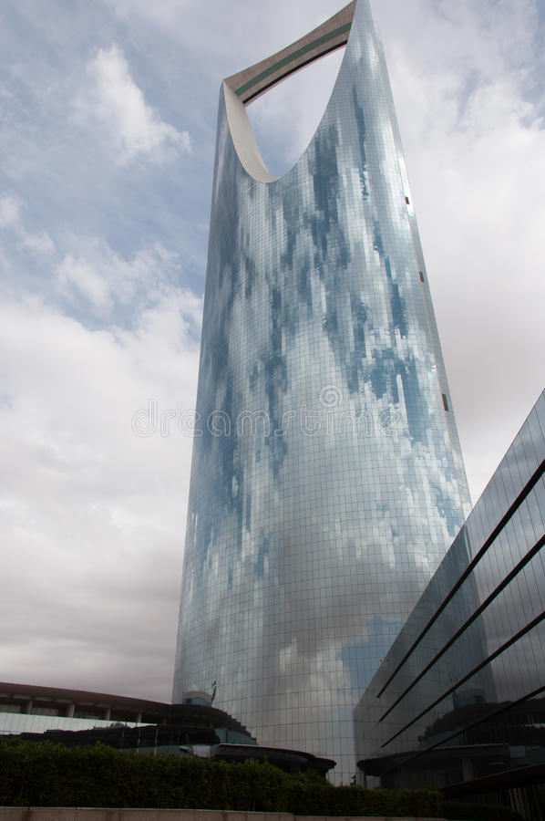 Kingdom Tower in center of Riyadh, Saudi Arabia.  royalty free stock photo