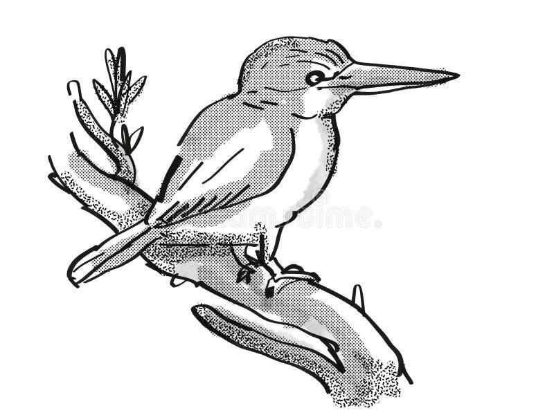 Kingfisher New Zealand Bird Cartoon Retro Drawing vektor abbildung