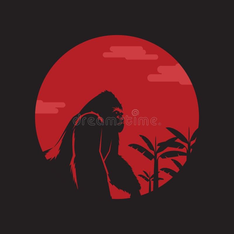 Kingkong under månen royaltyfri illustrationer
