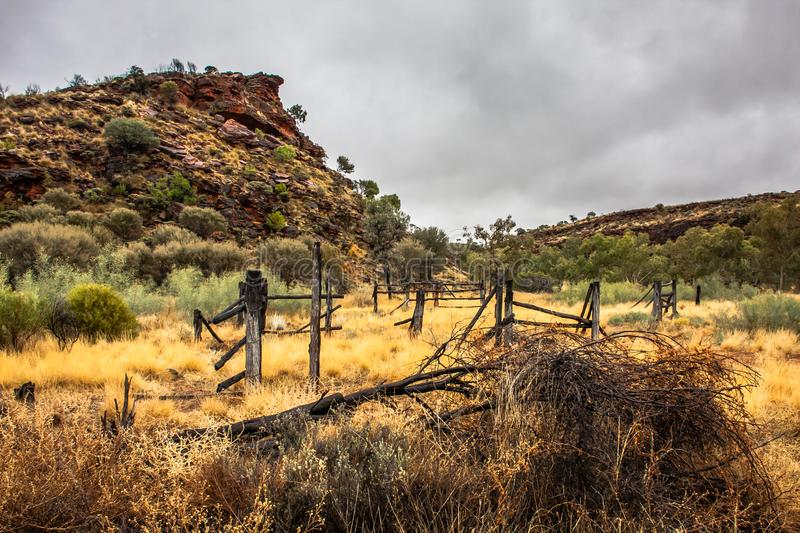 An abandoned range near Kings Canyon, Northern Territory, Australia. Kings Canyon is a canyon in the Northern Territory of Australia located at the western end stock image