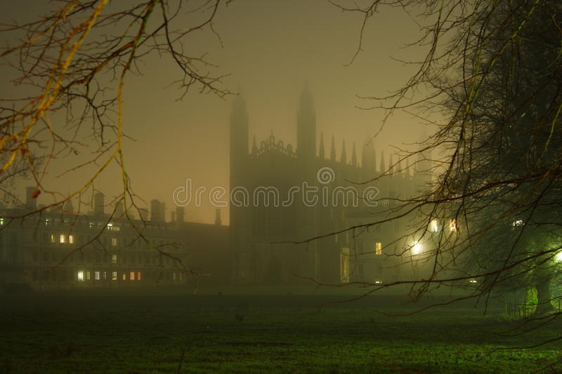 Kings Chapel. View of Kings College in the night. Cambridge. UK stock image