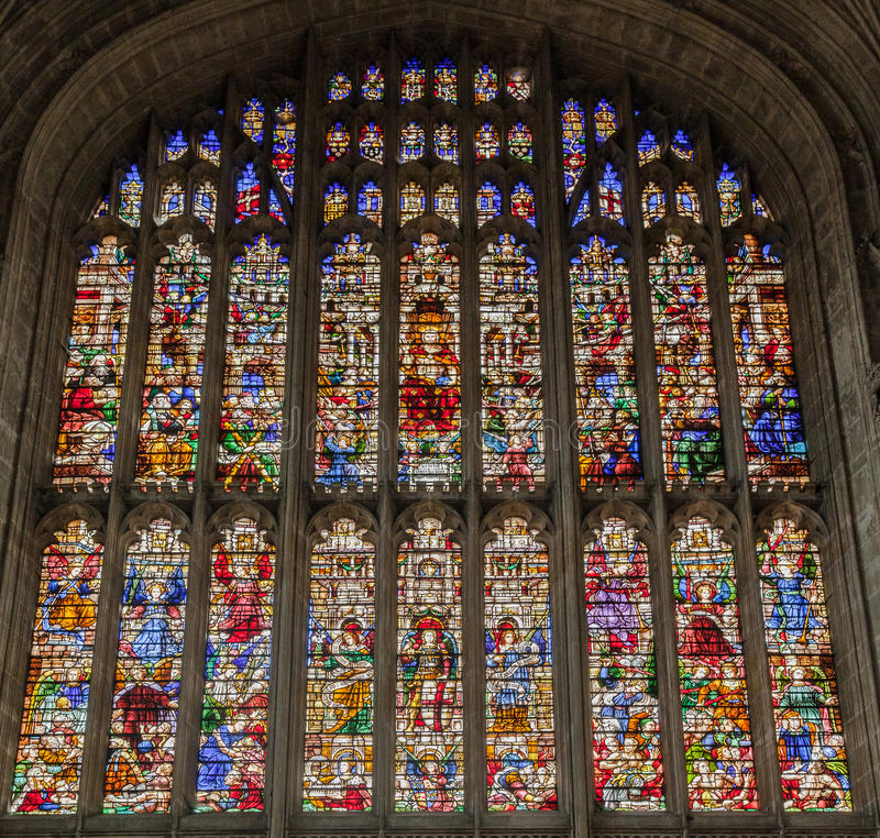 Kings College Chapel Cambridge England. The stainless painted glass windows inside Kings College Chapel in Cambridge, England stock image