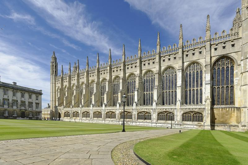 Kings College chapel cambridge. exterior set against summer blue sky. Outiside view of  Kings College chapel,  university of Cambridge with recently cut lawn royalty free stock images