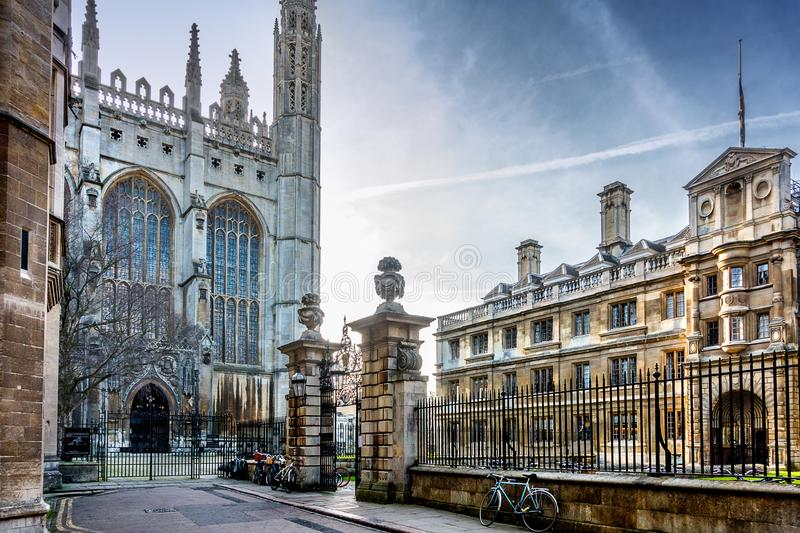 Kings College Chapel in Cambridge. Looking towards Kings College and Clare College in the university of Cambridge royalty free stock images