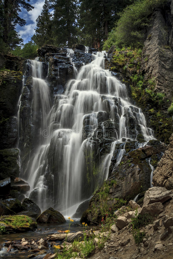 Kings Creek Falls at Mount Lassen Nat'l Park. This is the largest of three waterfalls on Kings Creek in California stock images