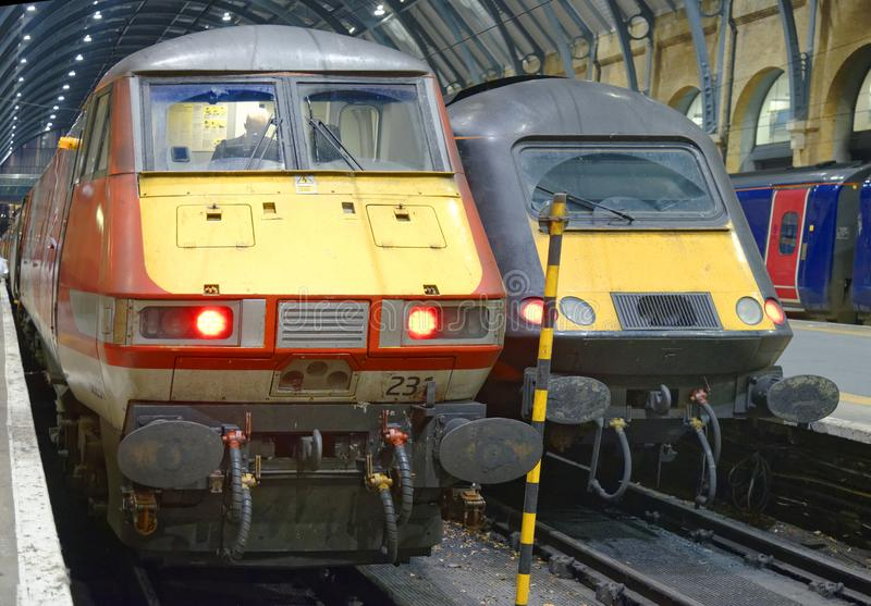 High speed mainline trains at kings cross, london, england royalty free stock image