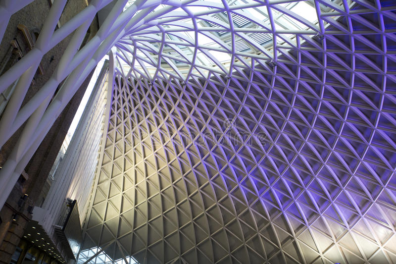 Kings Cross Station. The purple illuminated ceiling of King's Cross Railway station royalty free stock photos