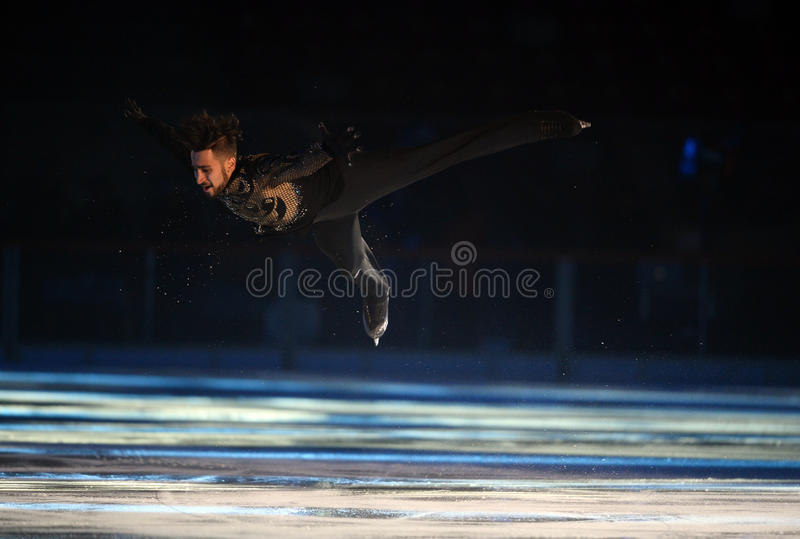 Kings on Ice. WARSAW, POLAND - FEBRUARY 27, 2016:Kings on Ice figure skating jump show made by Evgeni Plushenko and life music by Edvin Marton Emmy award winner royalty free stock photo