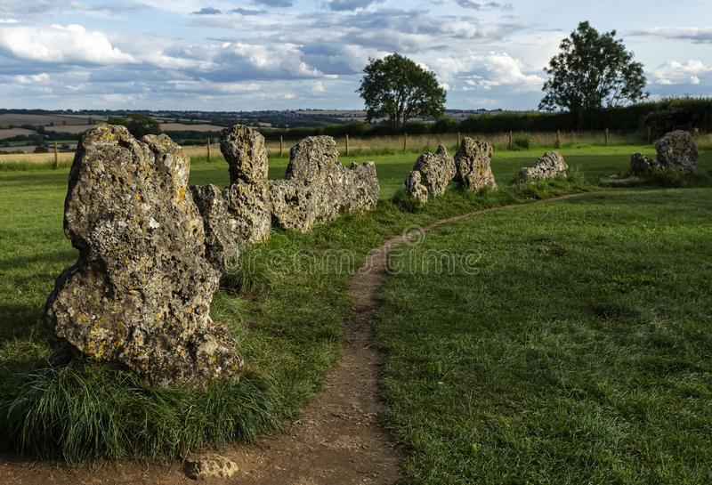 The Kings Men Neolithic Stone Circle, Rollright Stones, Wales, United Kingdom stock image