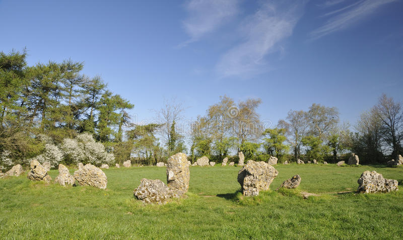 The Kings Men Stone Circle. The Kings Men Neolithic Stone Circle, Rollright Stones royalty free stock photo