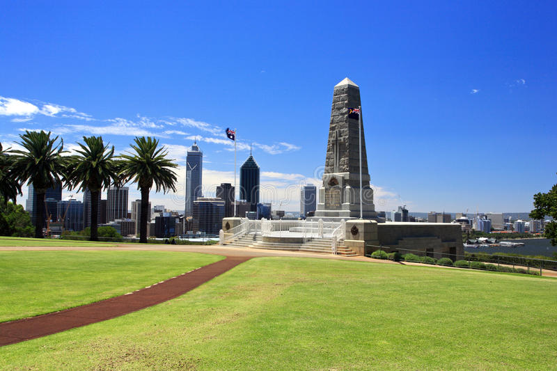 Kings Park,Perth,Western Australia. State War Monument at Kings Park, Perth, Western Australia. cityscape in the background stock photo