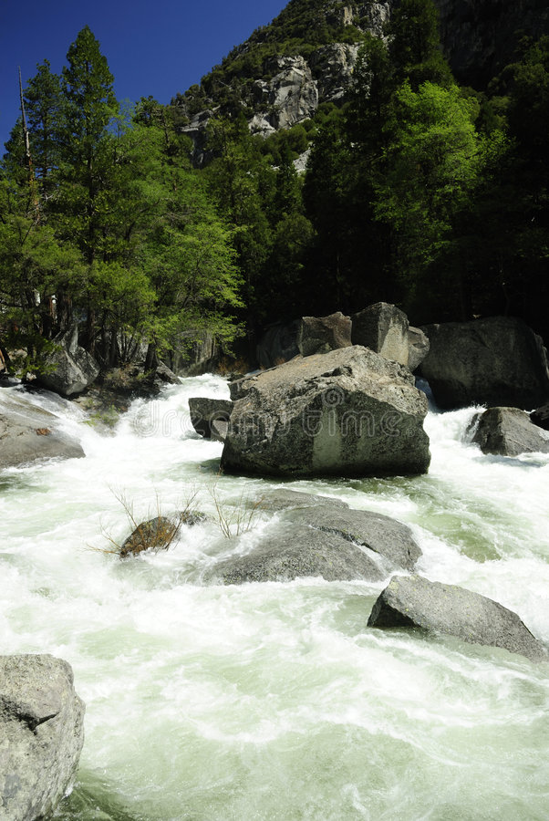 Kings River in Sierra Nevada of California. Spring flow of Kings River in Kings Canyon National Park, California royalty free stock photos