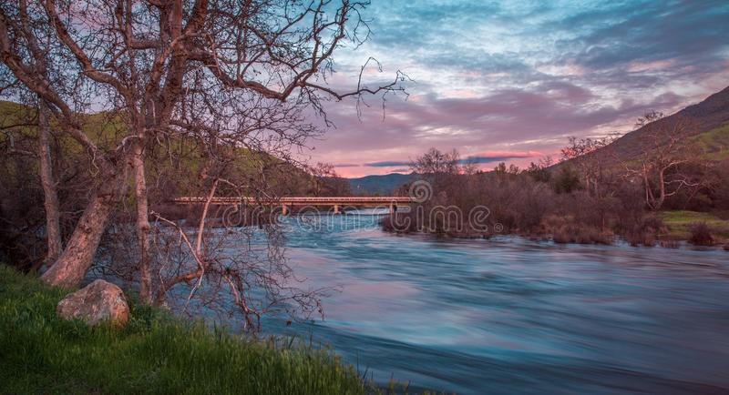 Kings River Sunset. A beautiful shot of the Kings River in California at Sunset royalty free stock photo