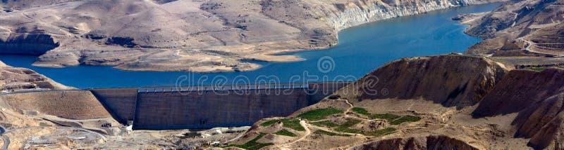 Kings road - Jordan. Wadi Mujib - King's road area, highway on the water dam with desert landscape around it in Jordan stock photos