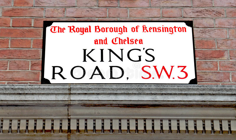 Kings Road Street sign. Street sign in the Famous Kings Road, Chelsea royalty free stock photos