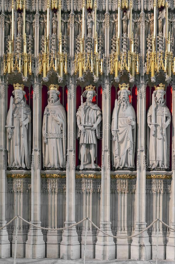The Kings Screen inside the cathedral of York Minster in the UK. York, England - April 2018: The15th century stone screen called The Kings Screen curtained royalty free stock photos