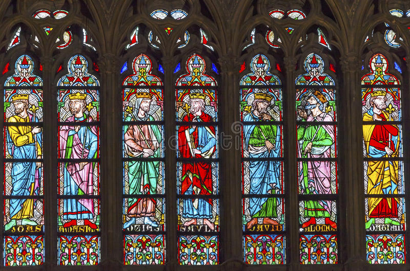 Kings Stained Glass Notre Dame Cathedral Paris France. Notre Dame was built between 1163 and 1250AD stock photo