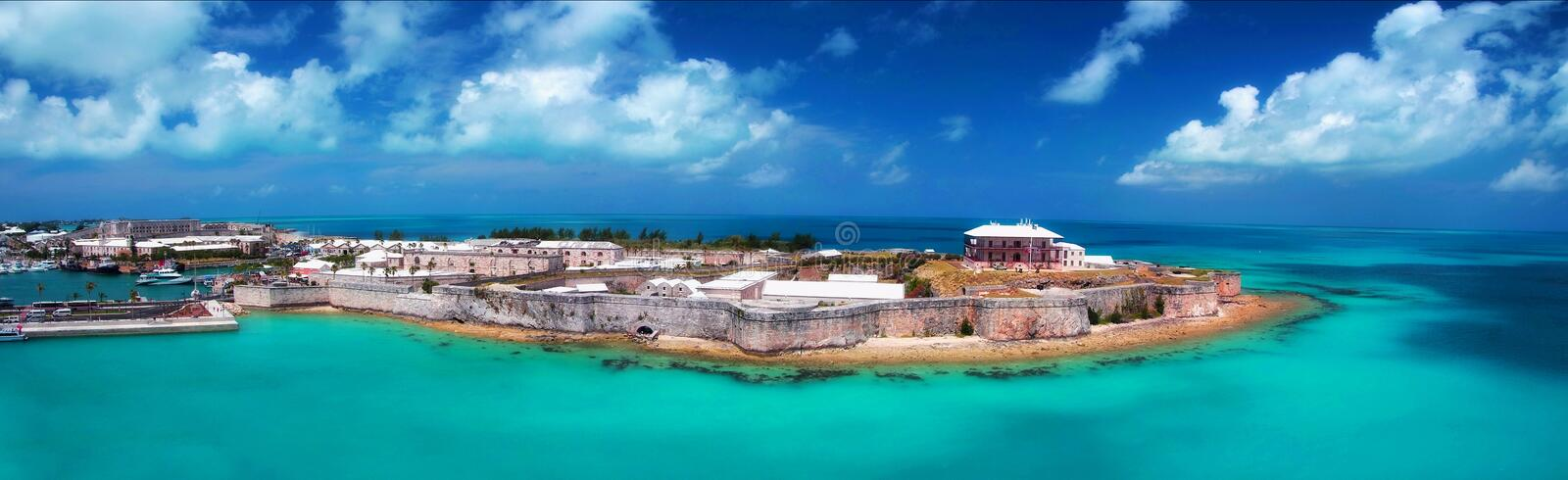 Kings wharf, Bermuda. Panoramic view of Bermuda Maritime Museum & Commissioner's House.It is the largest museum in Bermuda and is located within the grounds of stock photo