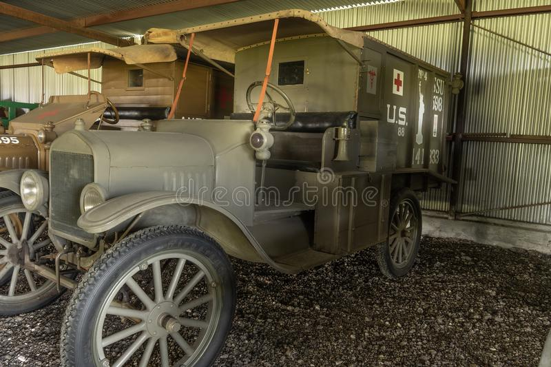 WWi Restored American Expeditionary Force Ambulance. Kingsbury, Texas/USA - July 6, 2018 - This restored WWI ambulance taken to the battle fields of WWI by the stock photos