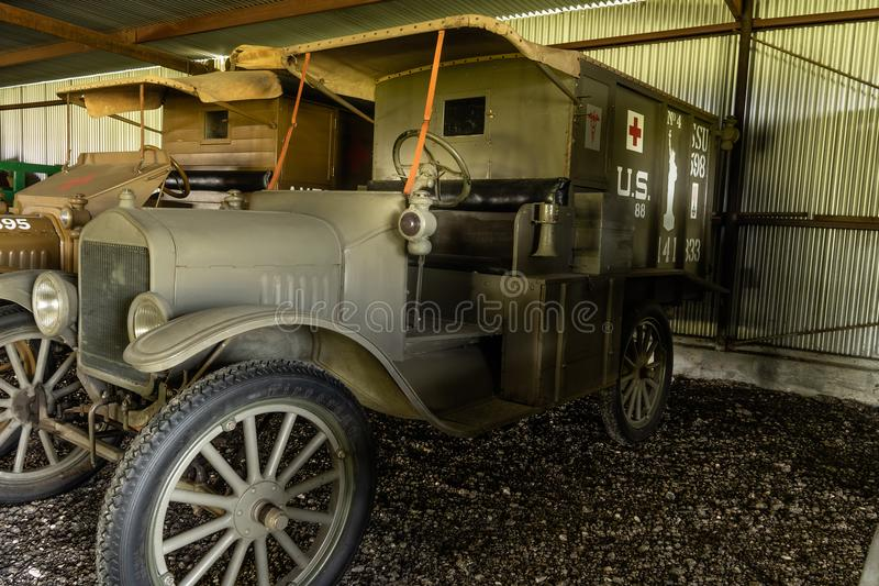 WWI American Expeditionary Force Ambulance. Kingsbury, Texas/USA - July 6, 2018 - This restored WWI ambulance taken to the battle fields of WWI by the American stock image