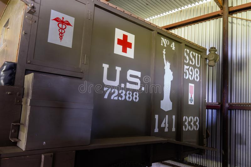 WWi Restored American Expeditionary Force Ambulance. Kingsbury, Texas/USA - July 6, 2018 - This restored WWI ambulance taken to the battle fields of WWI by the stock image