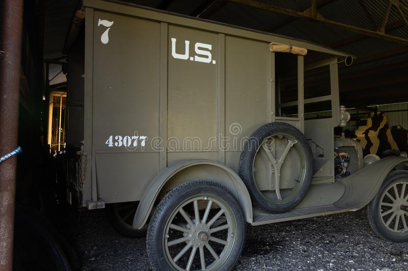 WWi Restored American Expeditionary Force Supply Truck. Kingsbury, Texas/USA - July 6, 2018 - This restored WWI supply truck was taken to the battle fields of stock photo