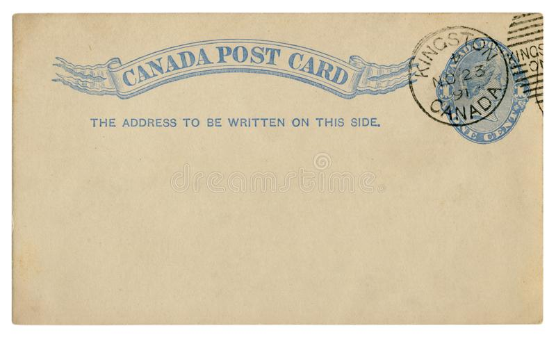 Kingston, Canada  - circa 1891: Blanked Canadian historical Post Card with blue text in vignette, Imprinted One Cent Queen Victori stock photo