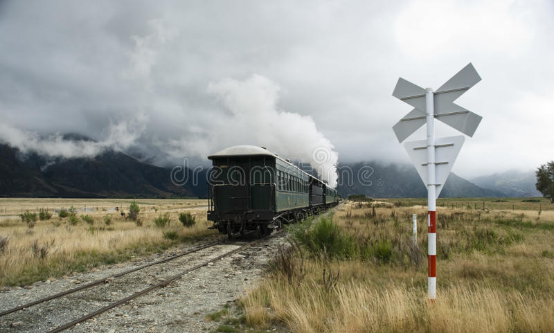 The Kingston Flyer. Iconic steam train. South Island. New Zealand stock photography