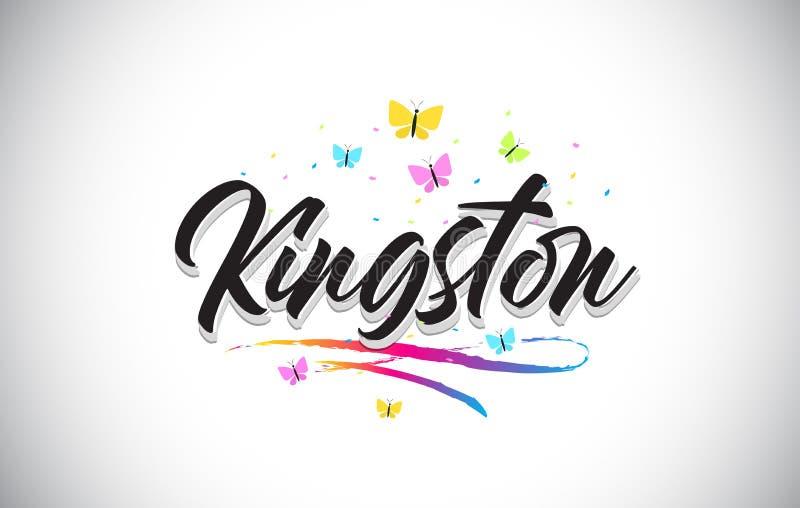 Kingston Handwritten Vector Word Text con le farfalle e variopinto mormorano illustrazione di stock