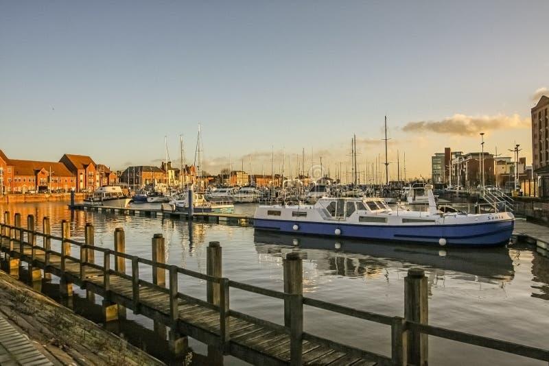 Kingston upon Hull/England - January 9, 2011: Boats moored in Hull Marina stock photos