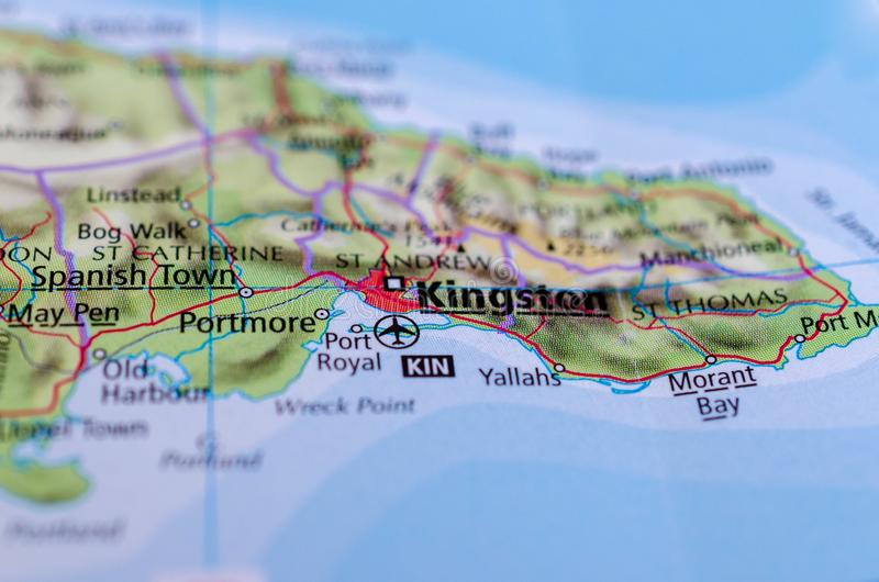 Kingston, Jamaica on map. Close up shot of Kingston, Jamaica. is the capital and largest city of Jamaica stock photos