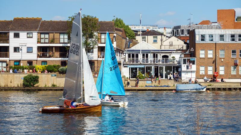 Kingston upon Thames, sailing boats, London, United Kingdom, May 21, 2018 stock photos