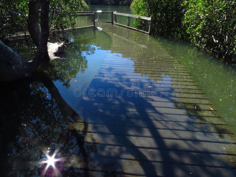 Kingtide floods popular boardwalk royalty free stock photography