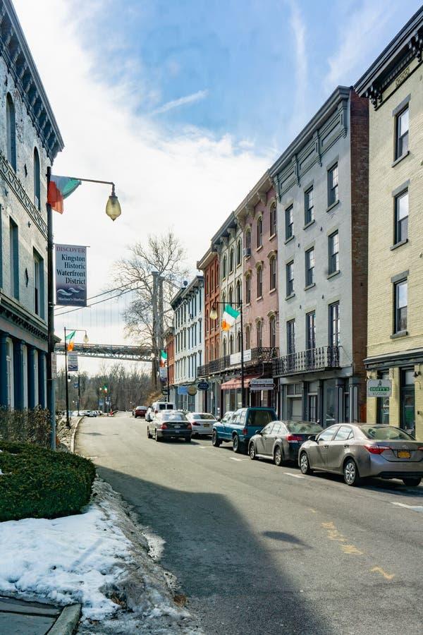 Kington, NY/Estados Unidos - março 3, 2019 retratos disparados de W Rua da costa durante o inverno foto de stock