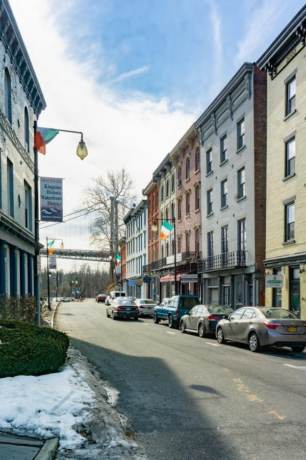 Kington, NY / United States - Mar. 3, 2019 portrait shot of W. Strand Street during the winter. A vertical view of West Strand Street in the Rondout section of stock photo