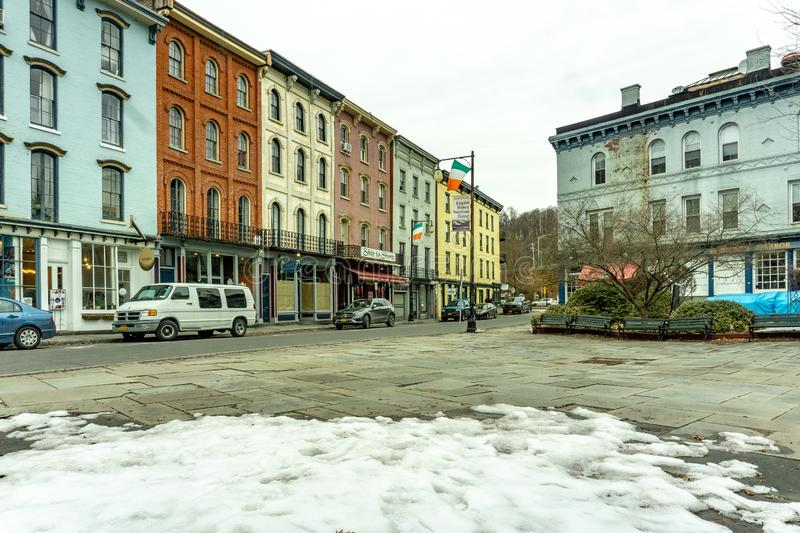 Kington, NY / United States - Mar. 3, 2019 - Landscape view of Strand Street in downtown Kingston. A horizontal winter view of the historic Strand Street, home royalty free stock images