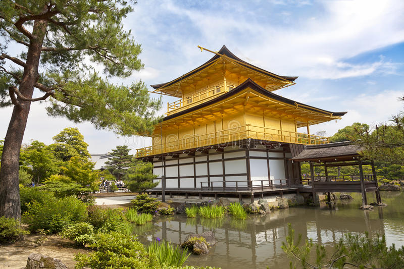 Kinkaku-ji, the Golden Pavilion, The famous buddhist temple in Kyoto, Japan royalty free stock photography