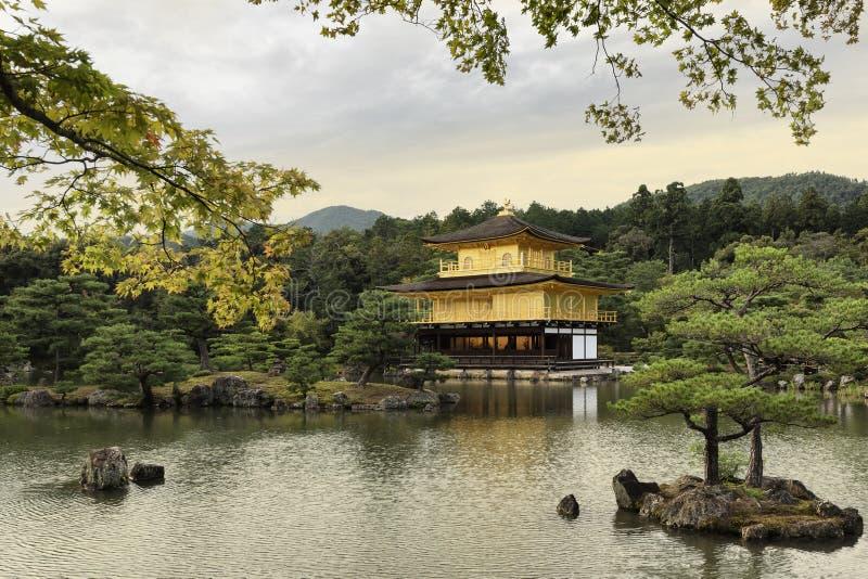 Kinkaku-ji, Golden Pavilion, Kyoto, Japan at sunset stock photography