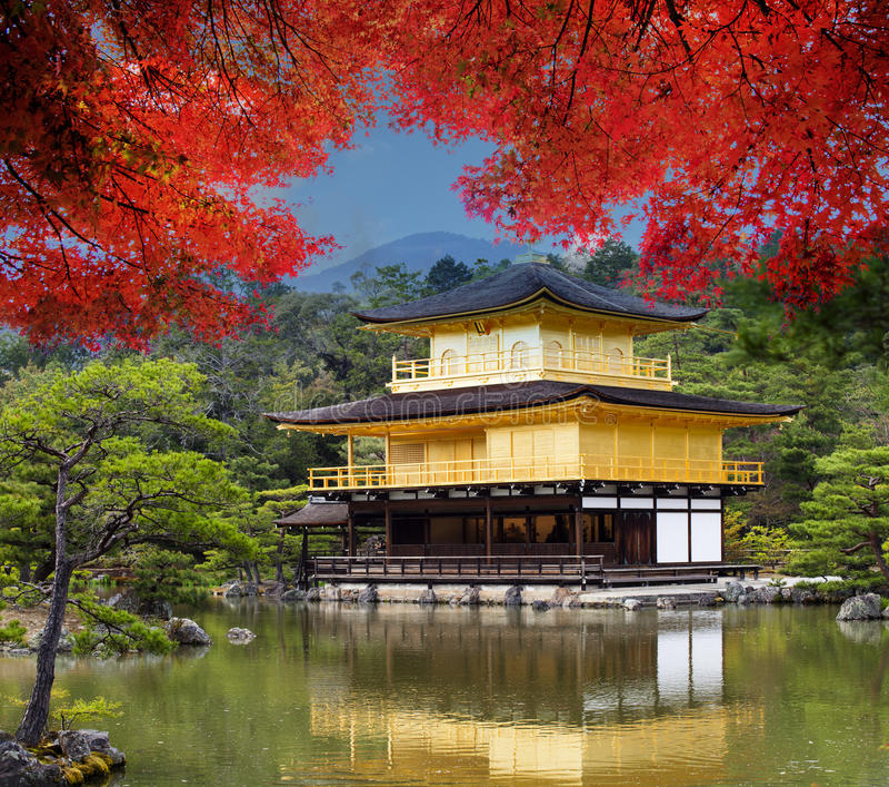 Kinkaku-ji Temple, the golden pavilion, a Zen buddhist temple in royalty free stock photo