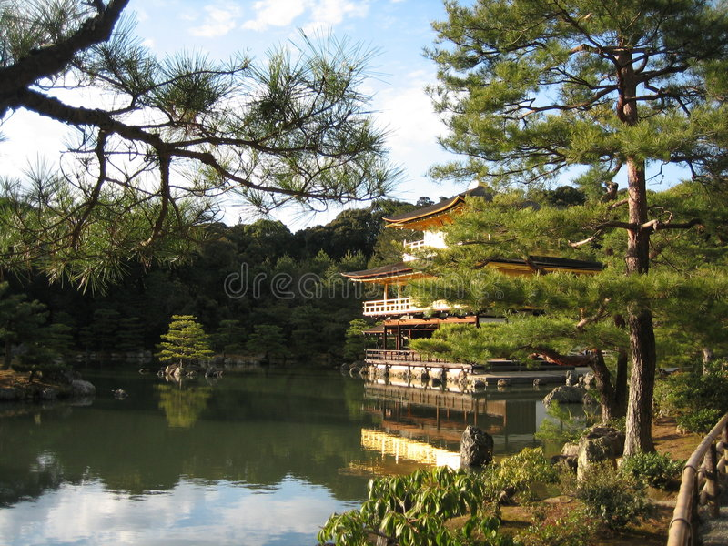 Kinkakuji. Picturesque view of Kinkakuji - The Golden Pavilion in Kyoto, Japan among greenery and plants stock photos