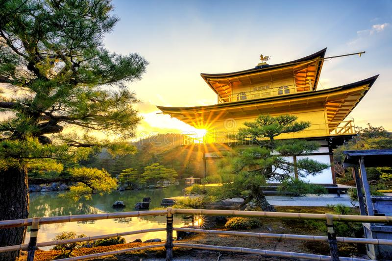 Kinkakuji Temple is a Zen temple in northern Kyoto stock images