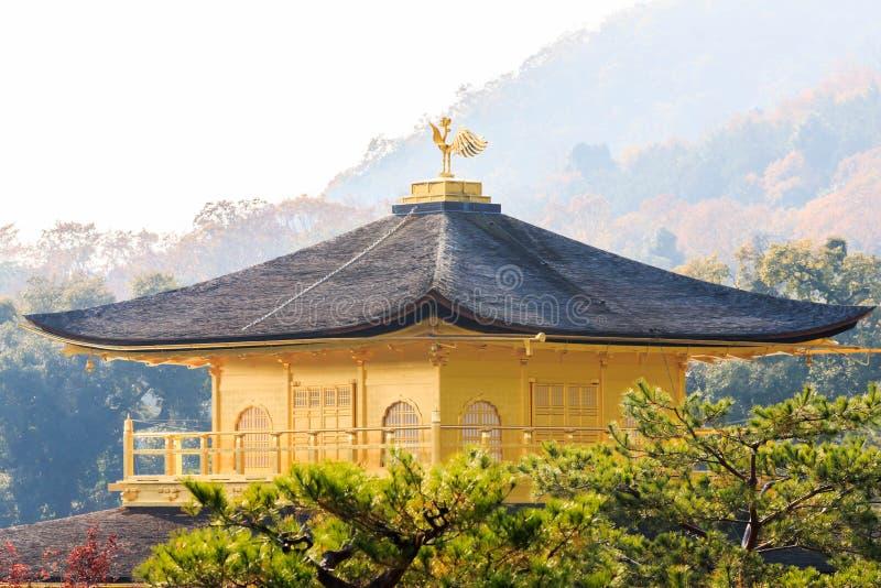 Kinkakujis tak av den guld- templet i Kyoto royaltyfria foton