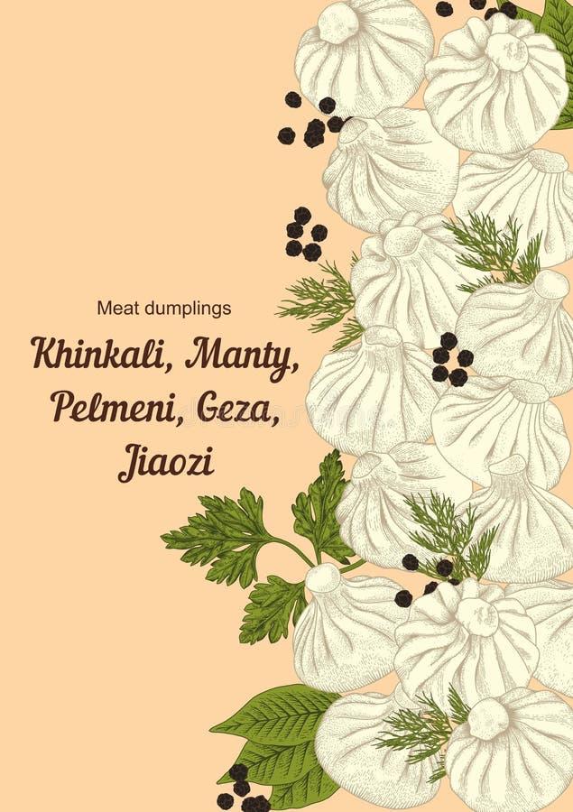 Kinkali, manti,饺子 Geza,娇子队 Pelmeni 肉饺子 食物 Pelmeni 肉饺子 食物 莳萝, 向量例证