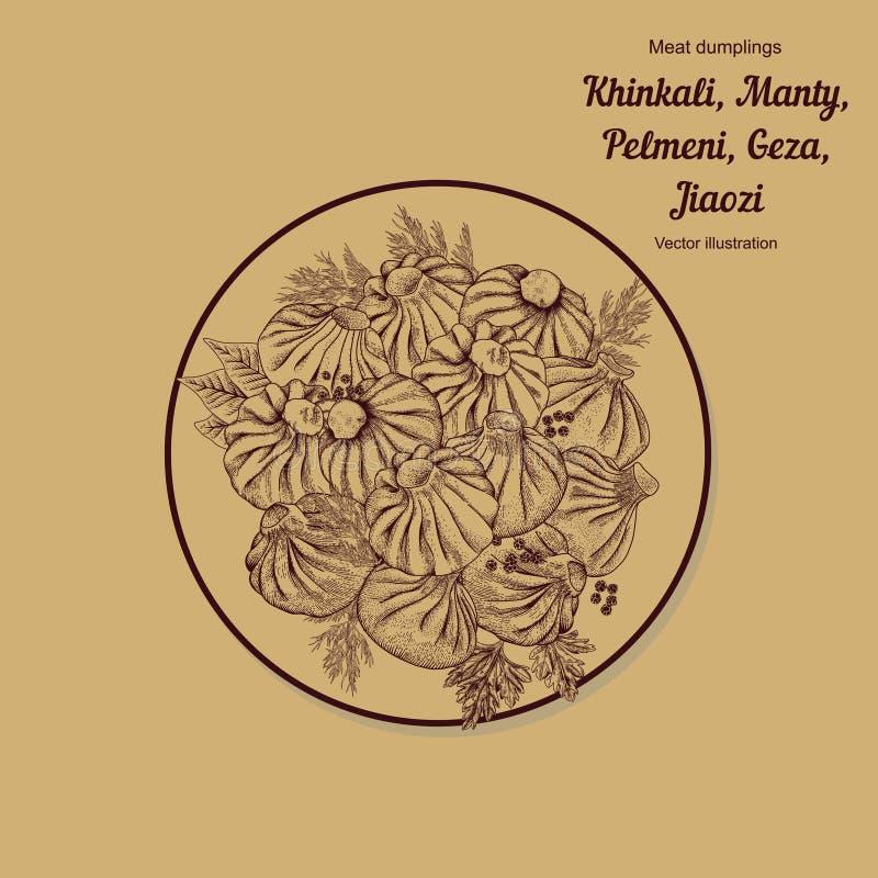Kinkali, manti, bollen Geza, Jiaozi Pelmeni Russische pelmeni op een plaat Voedsel Pelmeni Russische pelmeni op een plaat Voedsel stock illustratie