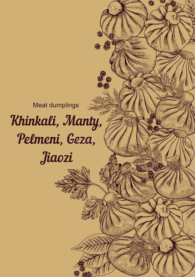 Kinkali, manti, dumplings. Geza, Jiaozi. Pelmeni. Meat dumplings. Food. royalty free illustration