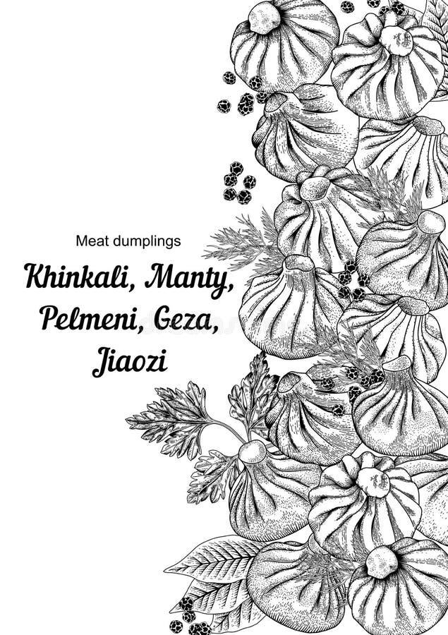Kinkali, Nikuman, manti, dumplings. Geza, Jiaozi. Pelmeni. Meat dumplings. Food. royalty free illustration
