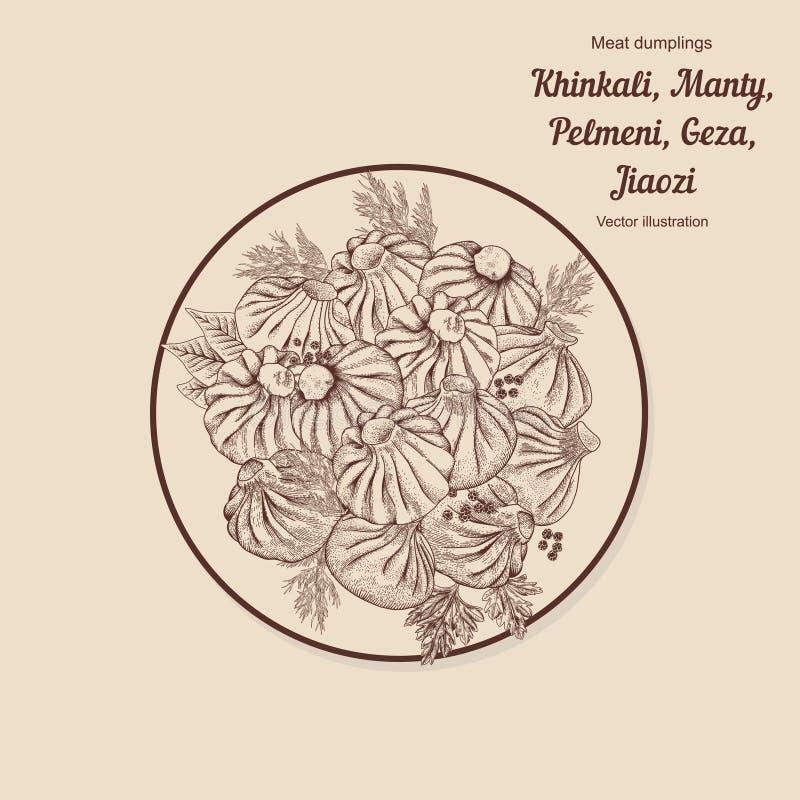 Kinkali, manti, dumplings. Geza, Jiaozi. Pelmeni. Meat dumplings. Food. Pelmeni. Meat dumplings. Food. Dill, vector illustration