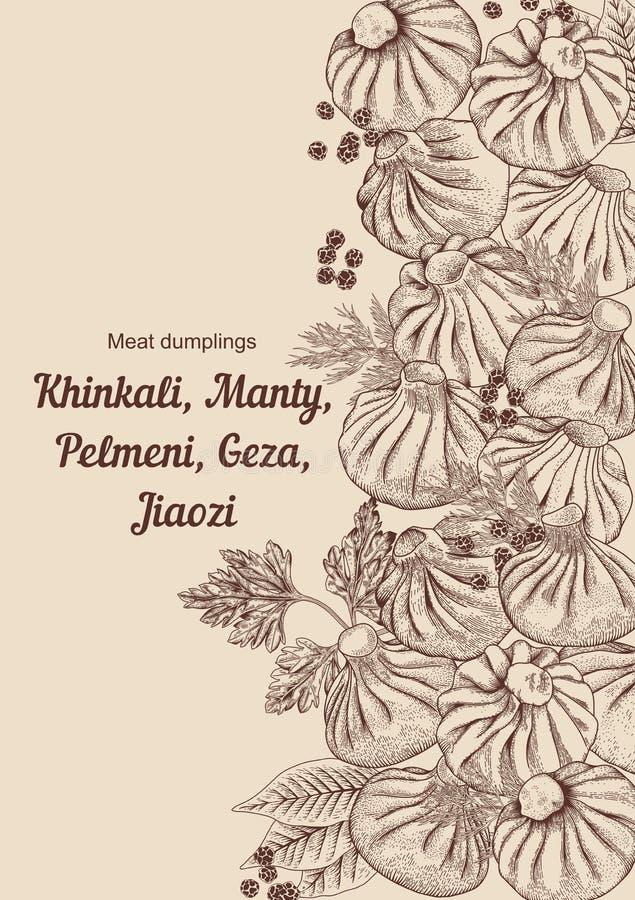 Kinkali, Nikuman. manti, dumplings. Geza, Jiaozi. Pelmeni. Meat dumplings. Food. Pelmeni. stock illustration